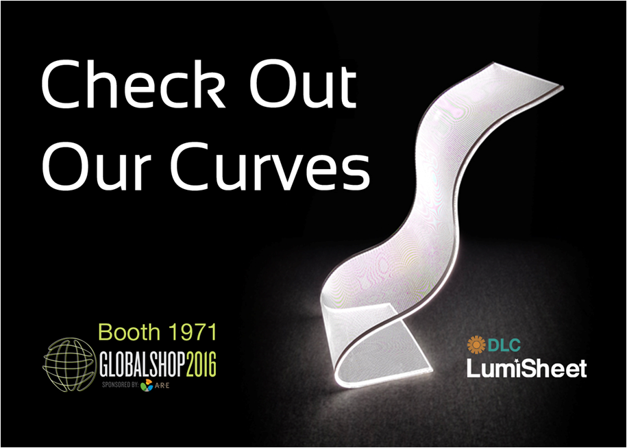 Curved LumiSheet at GlobalShop 2016. Booth 1971.